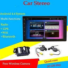 Double 2din 7 inch Pure Android 4.4 Car Radio GPS Navigation WIFI Bluetooth FM/AM Car Audio Headunit Car Radio+ Free Back Camera