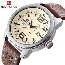 Элитный бренд naviforce Для мужчин Спорт Часы Для мужчин кварцевые часы человек армии Военное Дело кожа наручные часы Relógio masculino