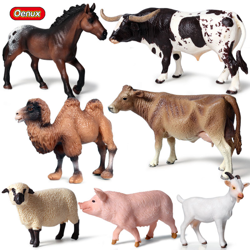 Oenux 7pcs/set Farm Animal Horse Cows Model Action Figures Lovely Pig Figurines Sheep Came High Quality Education Cute Toys Gift
