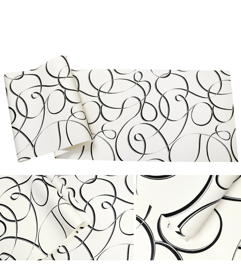 BOSTONIVY 3d Mural Wallpaper Simple Line White Black Wall Paper for Living Room Background Wallcovering papel de parede 10Mx53CM custom wood grain wallpaper mural 3d wallpaper background wall living room wall paper classical the plank papel de parede 3d