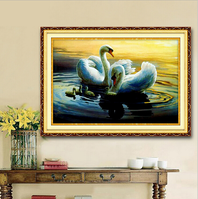 kits for embroidery cross stitch swans lake Precise Printed Patterns ...