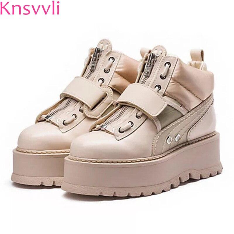 Knsvvli chaussures à lacets en cuir véritable plate-forme femmes fond épais bout rond zip crochet chaussures décontractées dames hauteur augmentant chaussures