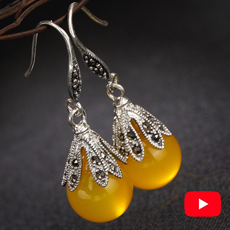 NOT FAKE S925 Sterling Silver Poland Amber Drop Earrings Exaggerated Earrings upper class lithuania Retro ChalcedonyNOT FAKE S925 Sterling Silver Poland Amber Drop Earrings Exaggerated Earrings upper class lithuania Retro Chalcedony