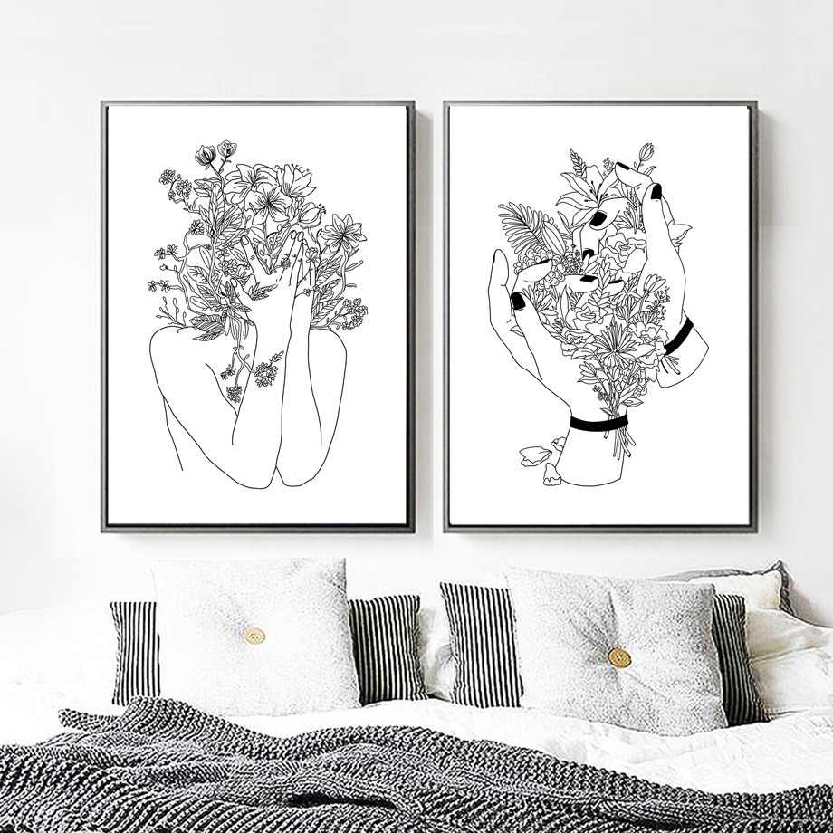 Canvas Art Print Flower Girl Canvas Painting Kids Black White Pop Art Minimalism Posters And Prints Wall Pictures Living Room