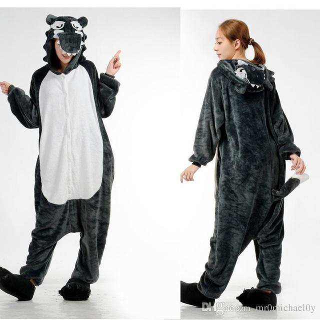 a63fed12a229 Lovely Animal Costume Pajamas Onesies Big Bad Wolf For Adult Men And Women  One Piece Onesie Pajamas Sleepwear Jumpsuit