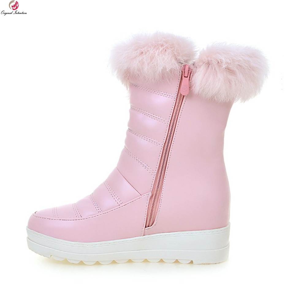 Original Intention Women Mid-Calf Snow Boots Round Toe Winter Boots Elegant Black White Pink Warm Shoes Woman US Size 4-10.5 double buckle cross straps mid calf boots