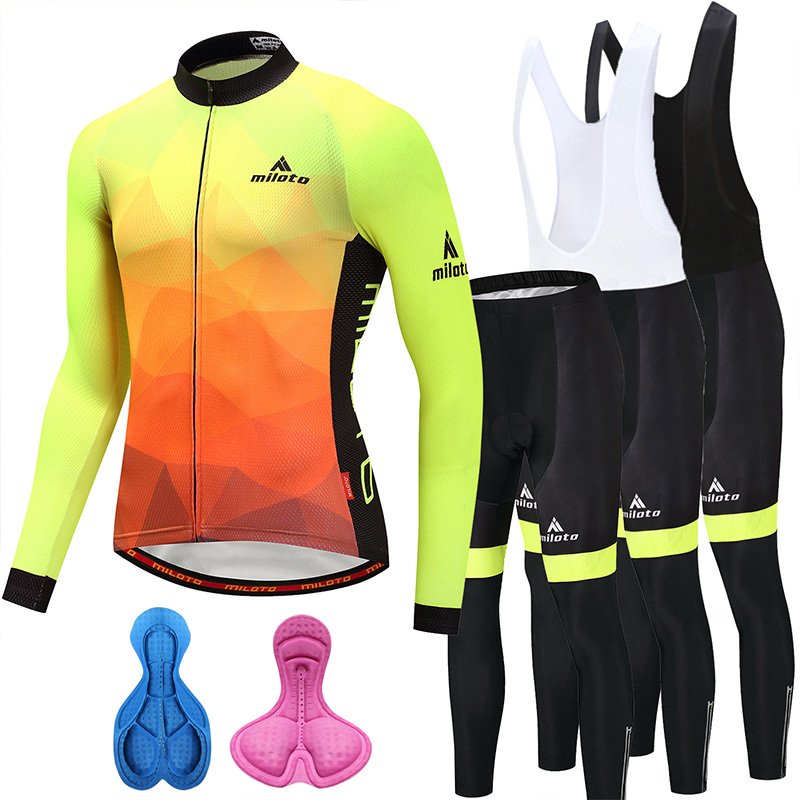 Long Sleeve Cycling Jersey Set Men Women Cycling Bibs Pants Set MTB Road Bike Wear Autumn Winter Thermal Fleece Cycling Clothing