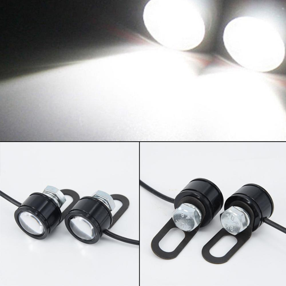 Image 5 - 2pcs 120LM Motorcycle White LED Spotlight Headlight Driving Light Fog Lamp 21.5*20*47mm moto accessories parts-in Electromobile from Automobiles & Motorcycles
