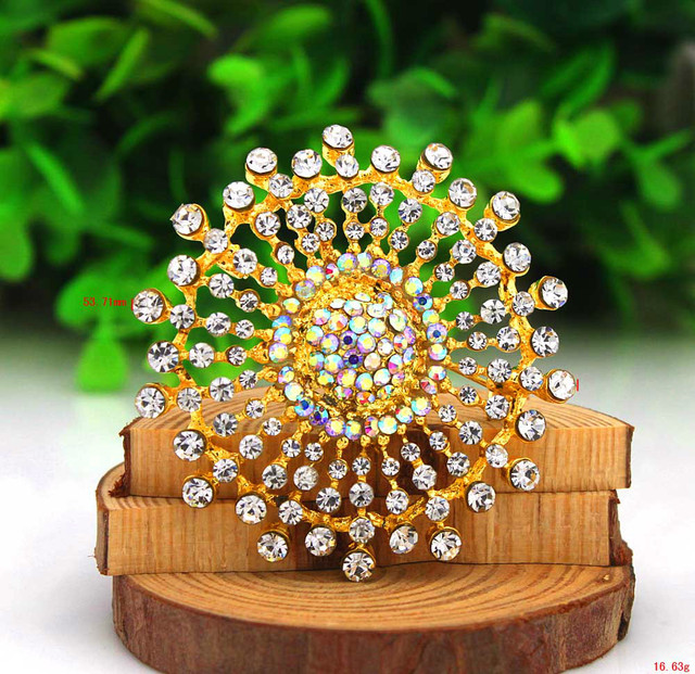 P233-068 Free Shipping 10PCS/Lot Brosche Gold Blume  Braun Bernstein Diamant Kristall Hochzeit Party Gold Brooch
