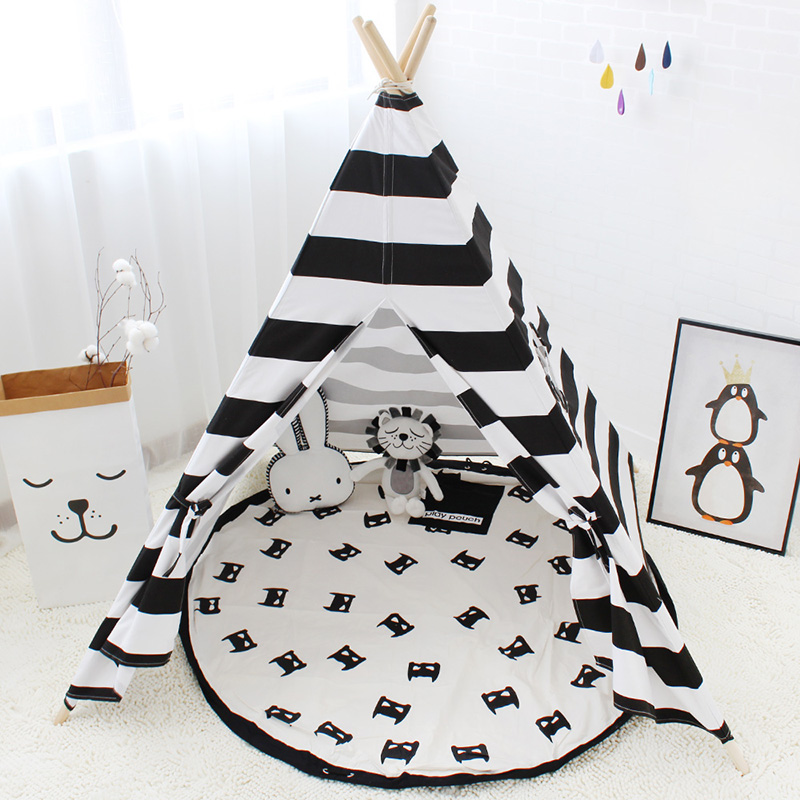 Nordic Children Tent For Baby Room Indoor Play House For Game Canvas Teepee Tent For Kids