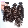 Cor marrom 3 Bundle barato brasileira onda profunda virgem cabelo 100% brasileiro do cabelo humano Weave