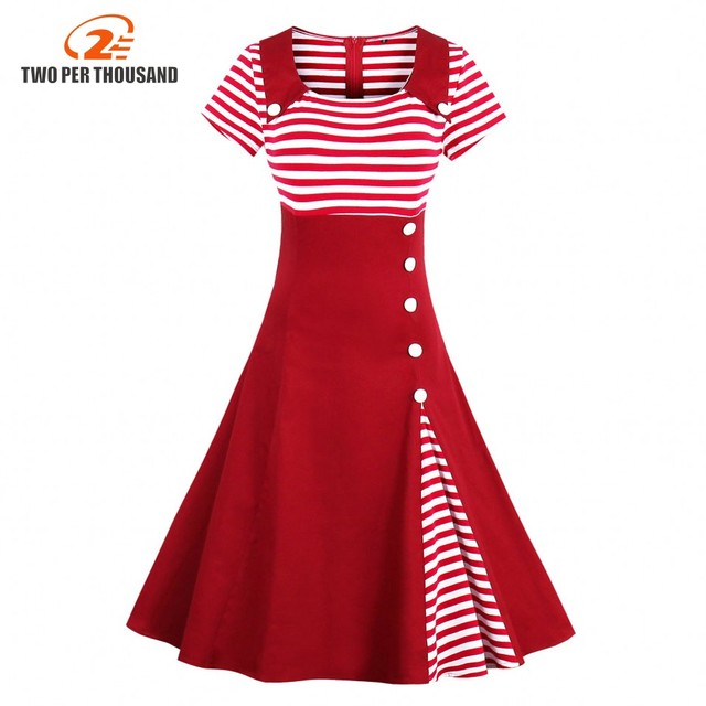 3xl 4xl Plus Size Women Pin Up Red White Striped Patchwork Dress Retro Short Sleeve Botton