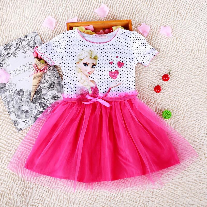 3-8 Years Summer Baby Girl Dress Princess Vestidos Fever Anna Elsa Dress Children Clothing For Kids Birthday Party Costume 4