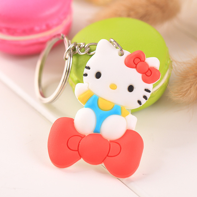 Wholesale Cute Keychain Rubber Key Chain PVC Cartoon Key Ring Creative Couple Key Bag Pendant Gift For Women Children Student 3
