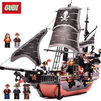 GUDI 652pcs Pirates Caribbean Black Pearl Ghost Ship Large Models Building Blocks Educational Birthday Gift Compatible