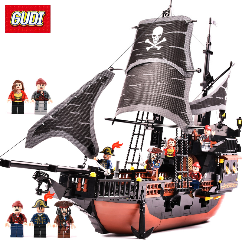 GUDI 652pcs Pirates Caribbean Black Pearl Ghost Ship large Models Building Blocks educational Birthday Gift Compatible Legoe new lepin 16009 1151pcs queen anne s revenge pirates of the caribbean building blocks set compatible legoed with 4195 children