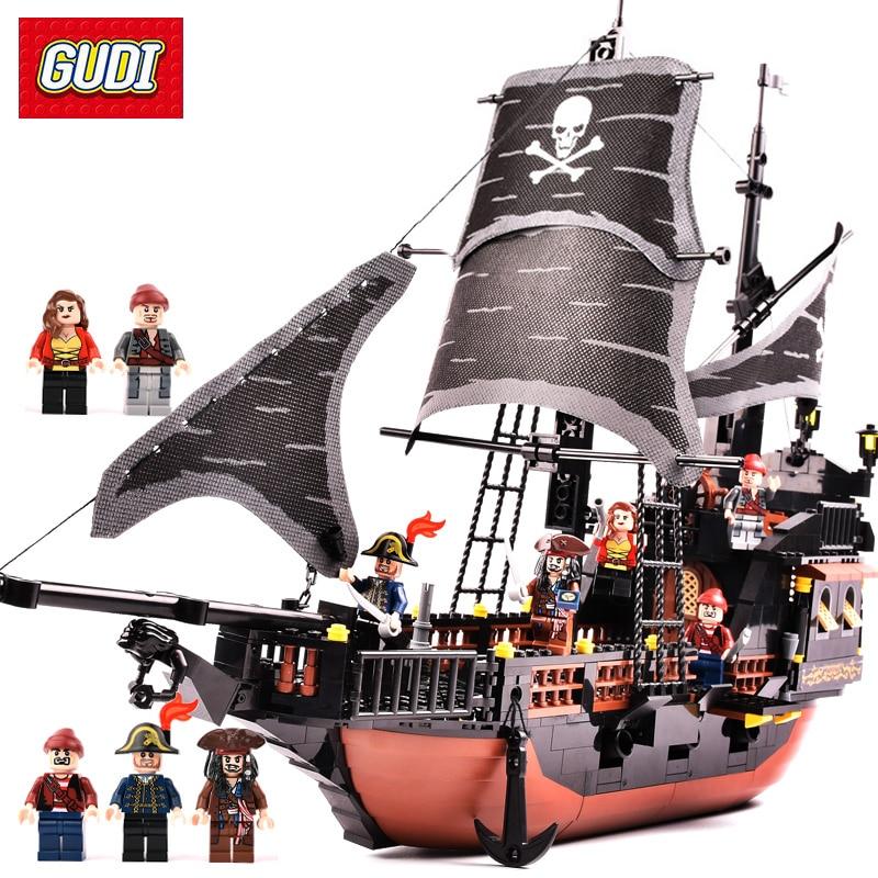 GUDI 652pcs Pirates Caribbean Black Pearl Ghost Ship Large Models Building Blocks Educational Birthday Gift Compatible Legoe