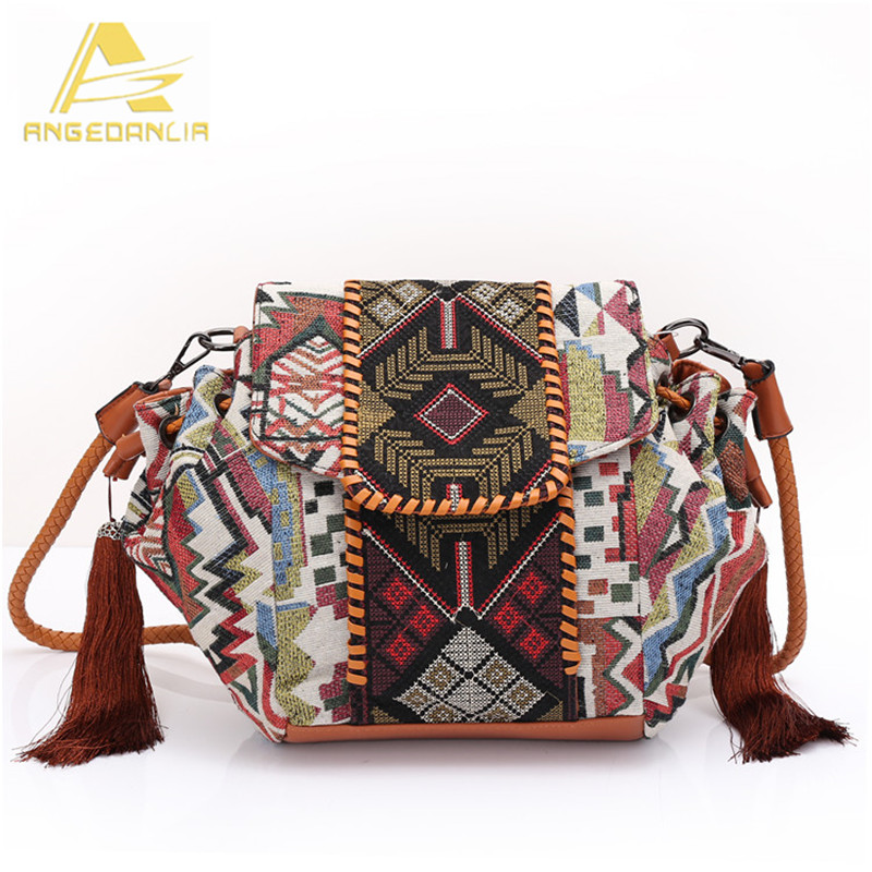 ФОТО Angedanlia National Shoulder bag Vintage Ethnic Style Geometric Mosaic Shoulder Bag Handmade Bohemian Ladies's Handbag