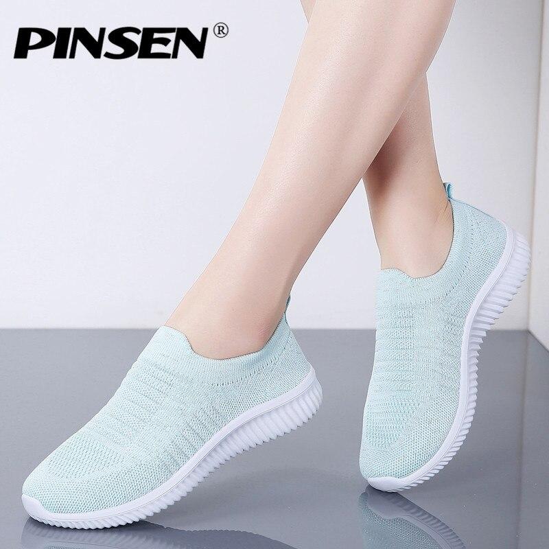 PINSEN 2020 Fashion Spring Women Shoes Breathable Mesh Comfortable Flat Shoes Sneakers Women Basket Femme Ballerina Flats Shoes