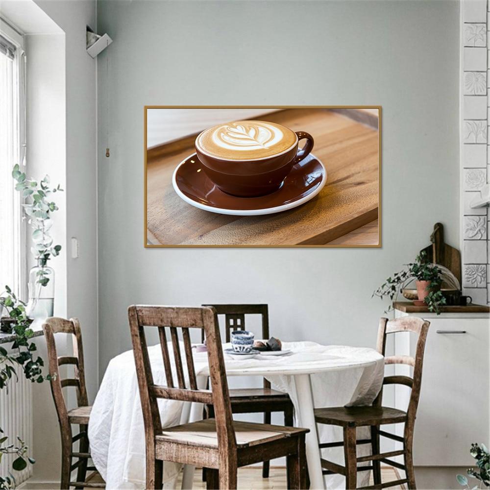 US $1 4 OFF Cetak Poster Kanvas Gambar Lucu Seni Hidup Cangkir Kopi Modern Lukisan Kopi Dinding Seni Dekorasi Rumah Dapur Cuadros Painting &