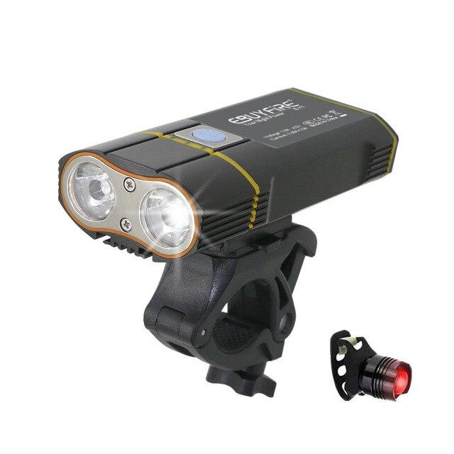 6000LM USB אופני אור 2x XML-L2 LED אופניים אורות עם סוללה נטענת רכיבה על אופניים קדמי אור + כידון הר