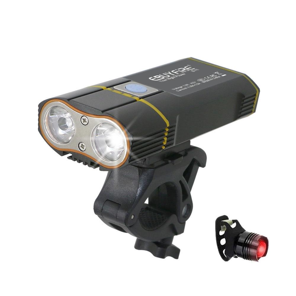 6000LM USB bicicleta luz 2x XML-L2 llevó luces de la bicicleta con la batería recargable ciclismo luz delantera + montaje del manillar
