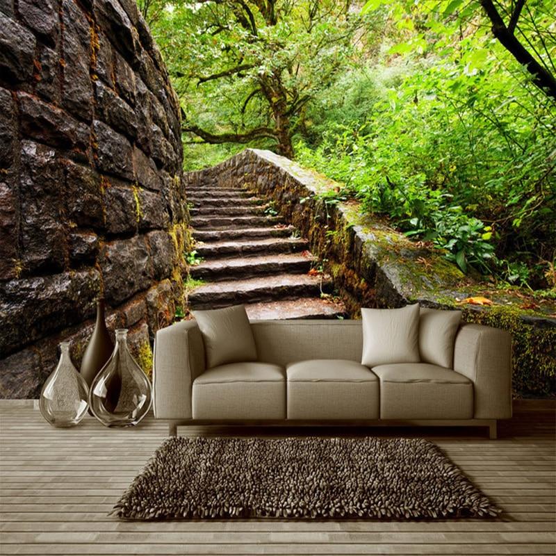 Custom 3D Stereo Original Forest Step Natural Landscape Mural Wallpaper Personalized Space Living Room Bedroom Design Home Decor