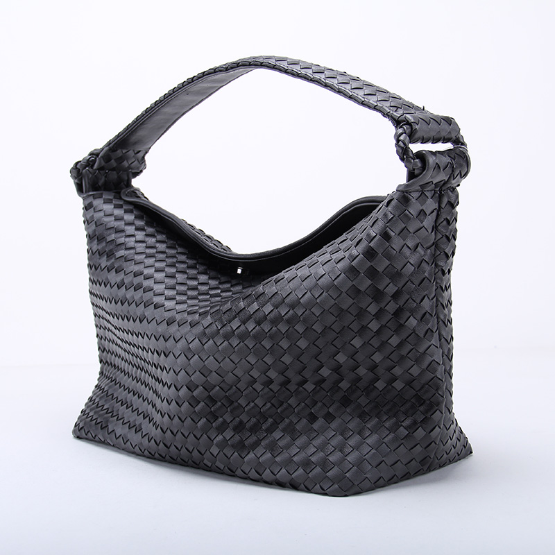 Fade Color Women S Woven Leather Half Moon Handbag Criss Cross Knitting Hobo Grant Dumpling Bag Casual Tote In Top Handle Bags From Luggage On