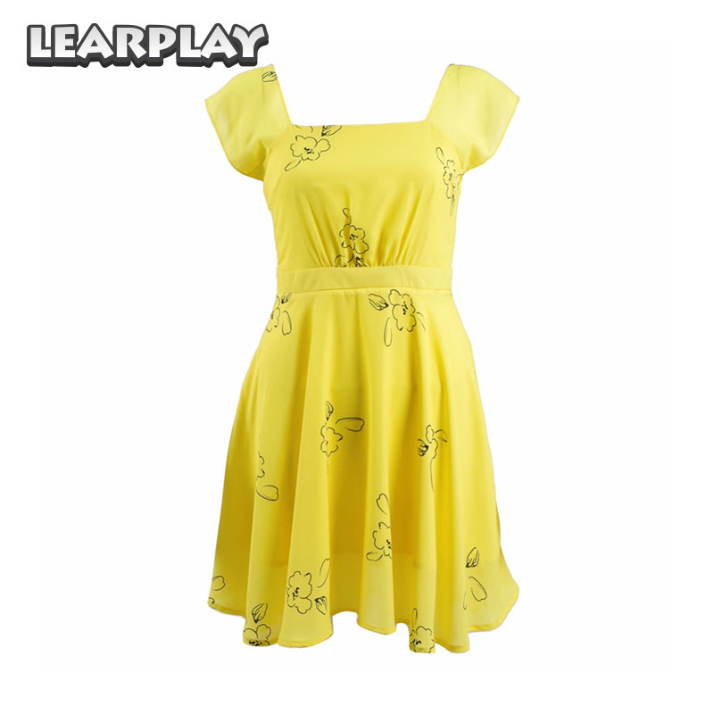 La La land Mia Yellow Dress Cosplay Costume Emma Stone Party Evening Dresses For Women Girls
