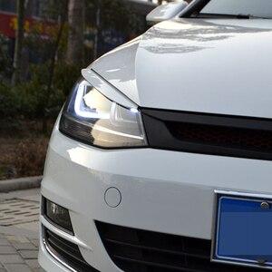 Image 2 - Carmonsonsヘッドライトの眉毛まぶたabsクロームトリムカバーフォルクスワーゲンvwゴルフ 7 MK7 gtiカーアクセサリーカースタイリング