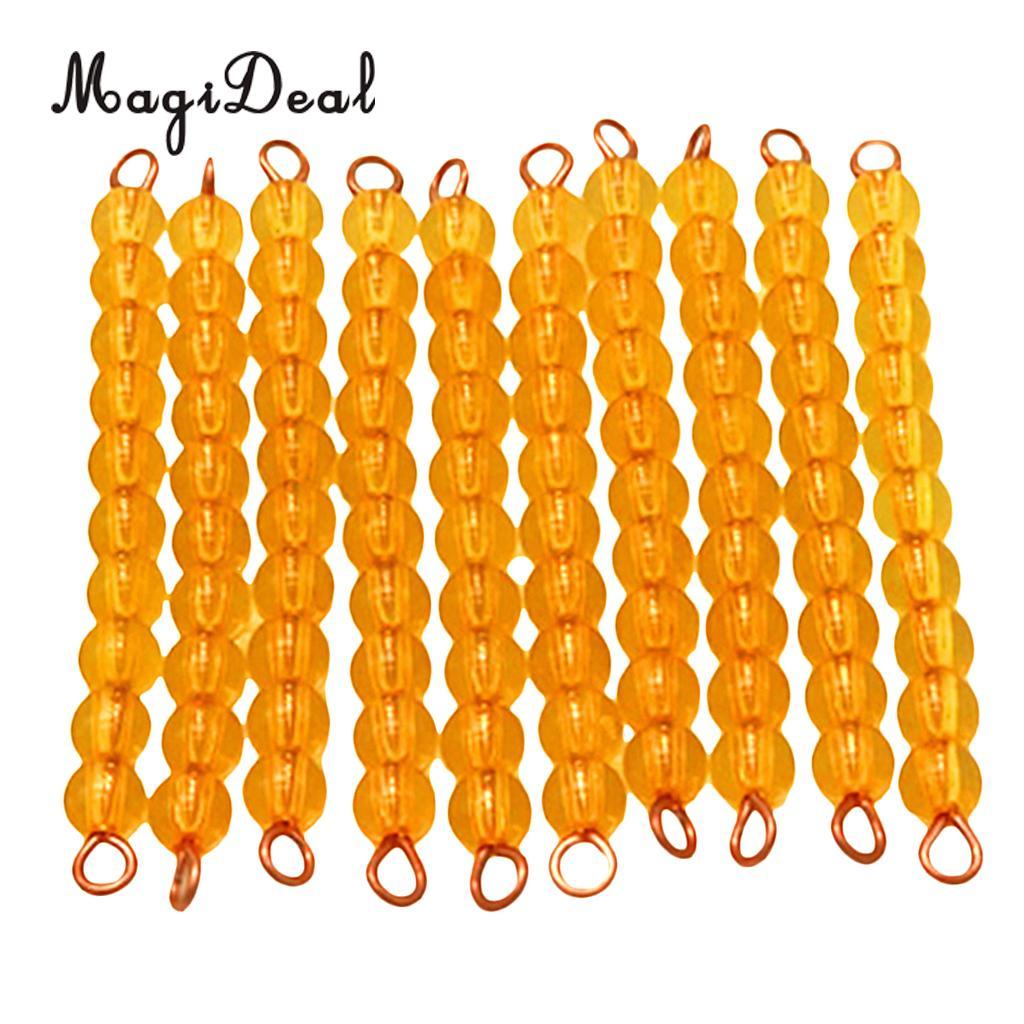 MagiDeal 10Pcs Orange Montessori Maths Material Ten Beads Bar for Classroom Home School Kids Educational Mathematics Toy Gift montessori mathematics material 1 9 beads bar in wooden box early preschool toy p101