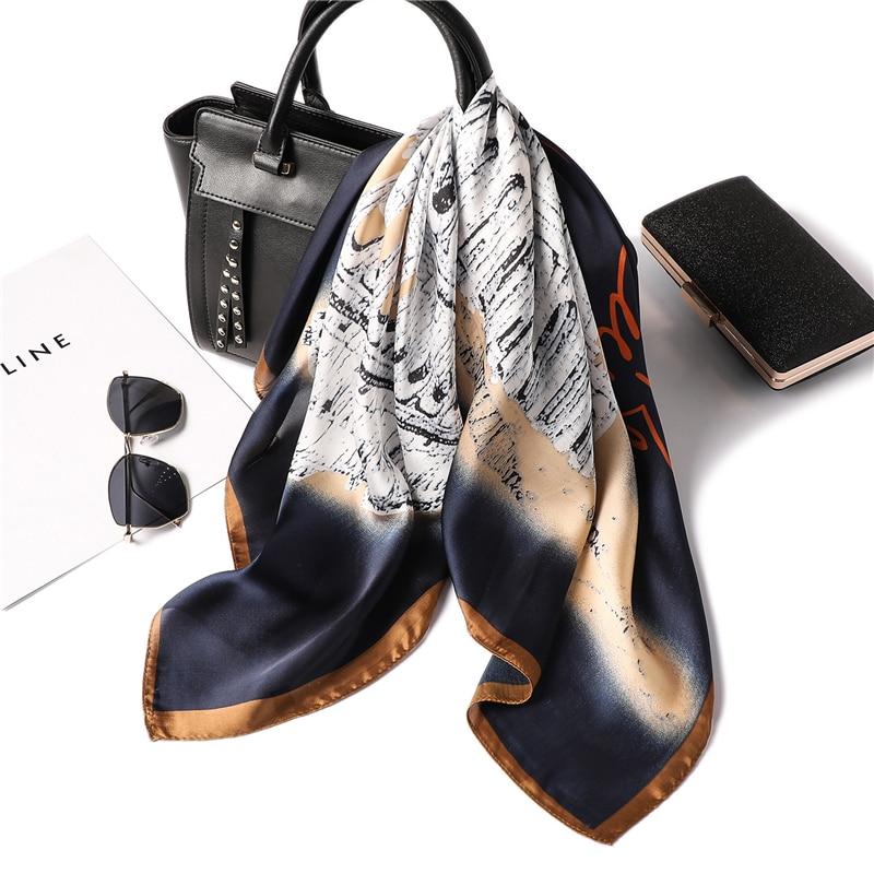 Women Scarf Silk Square Head Neck Scarfs Foulard Fashion Lady Office Neckerchief Bag Tie Print Shawl in Women 39 s Scarves from Apparel Accessories