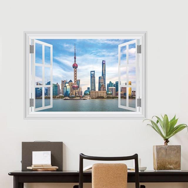 US $3.59 10% di SCONTO|Adesivi Murali Paesaggio cinese Shanghai Oriental  Pearl TV Tower Stickers Murali 3d Finestra Manifesto Murale Camera Da Letto  ...