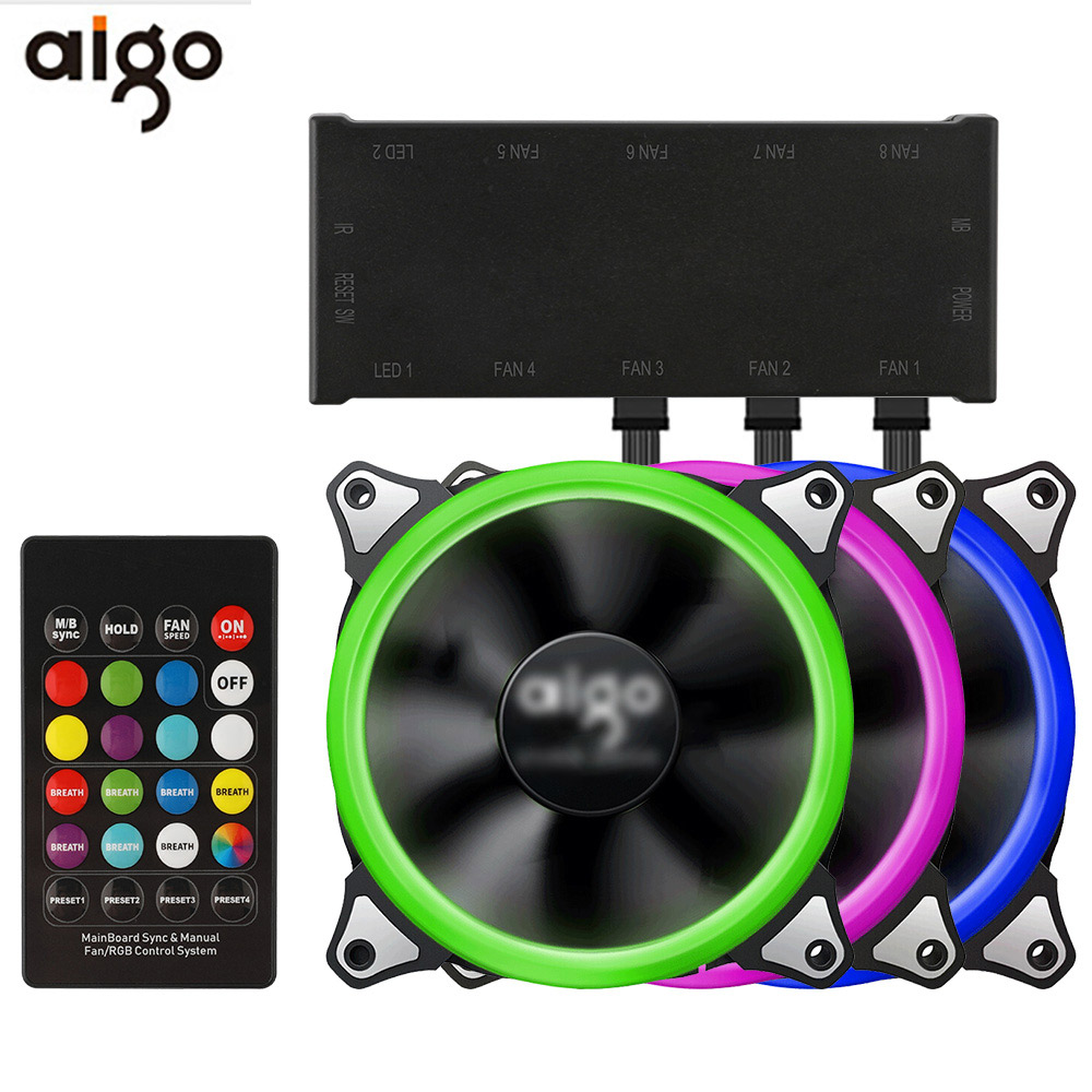 Aigo 120mm Fan PC Case Fan Cooler Adjustable Aurora RGB Led Computer Cooling Fan 12V Mute Ventilador PC Case Fan for Computer-in Fans & Cooling from Computer & Office
