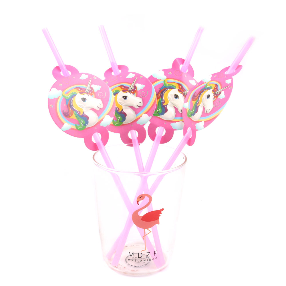 6PCS Unicorn Party Rainbow Straw Paper Straws Unicorn - Semester och fester