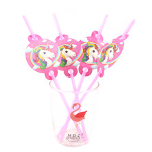 6PCS Unicorn Party Rainbow Straw Paper Straws Unicorn Födelsedagsfest Festliga Tillbehör Dekoration Cartoon Plastic Drinking Straws