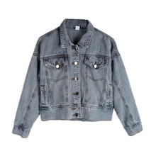 Korean Type Fashion Women Short Style European Wind Lapel Collar Denim Jeans Coats Jackets