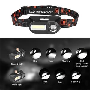 Image 5 - Sanyi Mini lampe torche frontale COB phare LED Rechargeable par USB, lampe torche, lumière nocturne, idéal pour le Camping, la randonnée ou la pêche, 18650