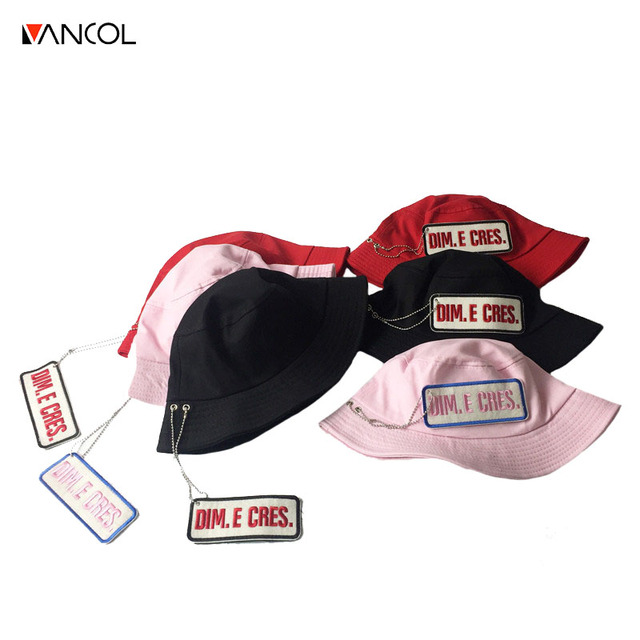 Vancol 2017 meninos balde chapéu unisex chapéu de primavera para as mulheres  coréia rosa carta bordado d65057c694a