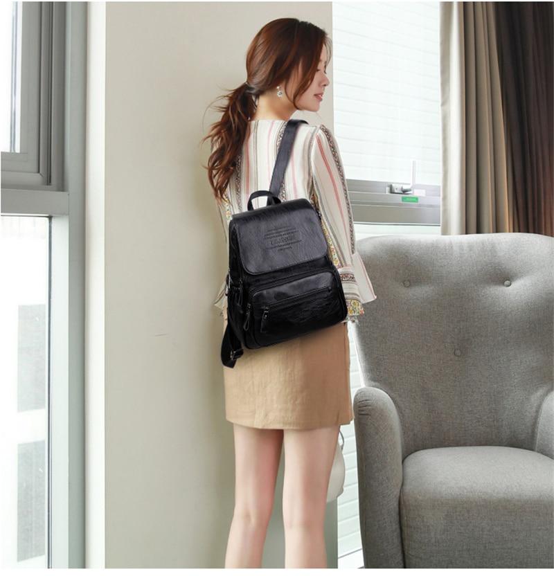 HTB1qAWhR9zqK1RjSZFpq6ykSXXaE 2019 Women Leather Backpacks High Quality Ladies Bagpack Luxury Designer Large Capacity Casual Daypack Sac A Dos Girl Mochilas