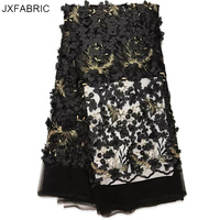 JXFABRIC New Nigerian Lace Fabrics 3d Lace Fabric Flowers Applique With Beads Embroidery African French Tulle