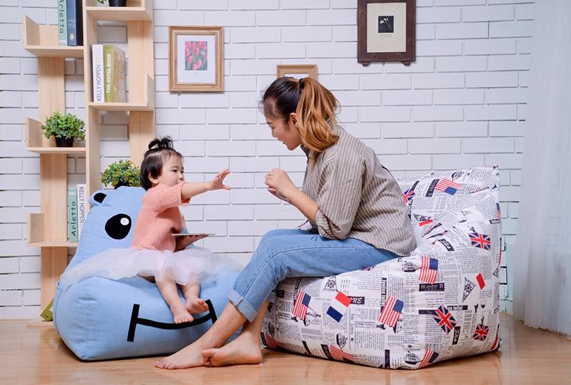 Chpermore Cute Mini Cartoon Children Bean Bag Lazy Sofa Comfortable Living Room Leisure Bean Bag Sofa Students/kids Tatami Chair Home Furniture