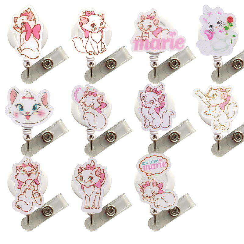 50 pcs lot Acrylic Marie Cat Retractable Badge Reel Pull ID Card Badge Holder Belt Clip
