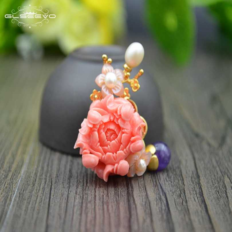 XlentAg Natural Fresh Water Pearl Coral Flower Brooch Amethyst Brooches For Women Accessories Dual Use Luxury Jewellery GO0104