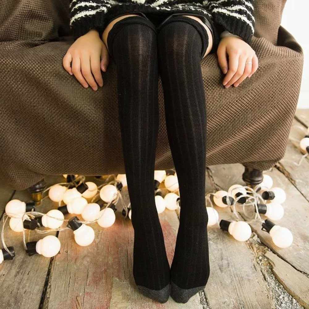 MUQGEW 2019 Колледж ветра носки до колен для девочек хлопок Для женщин зимние вязаные Гольфы с узором в виде длинные высокие ботинки высокие теплые носки # y3