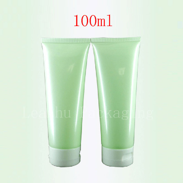 100ml X 50 Empty Light Green Soft Lotion Cosmetics Packaging 100g Shampoo Plastic Bottles