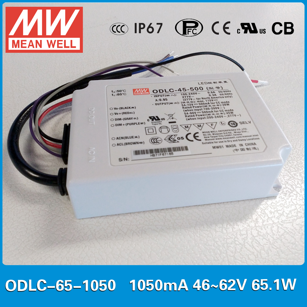 Original MEAN WELL Flicker free LED Power Supply constant current ODLC-65-1050 65W 1050mA 46~62V 0~10VDC/PWM signal dimming