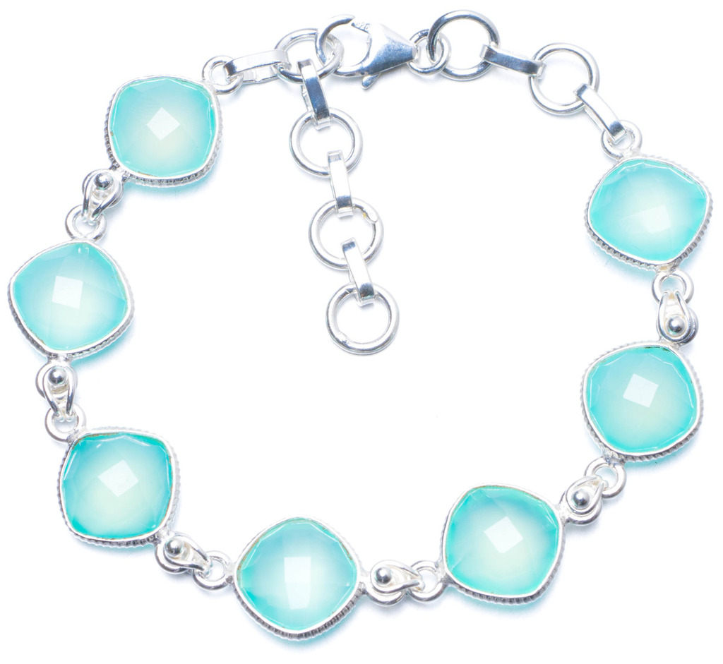 Natural Chalcedony Handmade Unique 925 Sterling Silver Bracelet 7-8 1/4 Y0837 цена