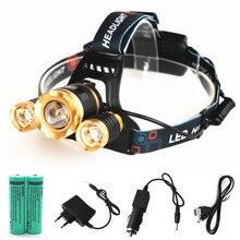 Xml-3xt6 открытый 11000lm освещения Перезаряжаемые светодиодные фары Фонари Увеличить Фара свет + 2*18650 Батарея + CAR/AC зарядное устройство + USB