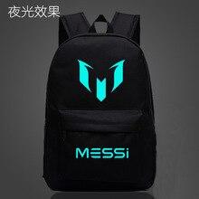 Barcelona Messi Gedruckt Schwarz Leuchtenden Rucksack Schultern Laptop-tasche Schultasche New LCF